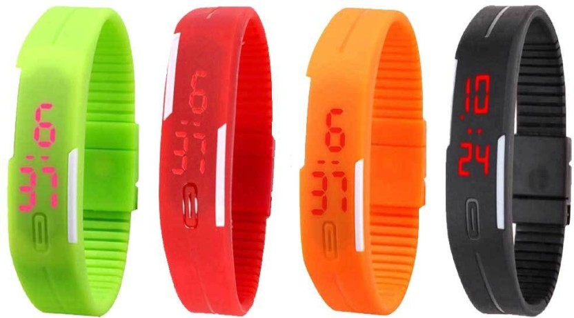 NS18 Silicone Led Magnet Band Combo of 4 Orange, Red, Black And Green Watch  - For Boys & Girls