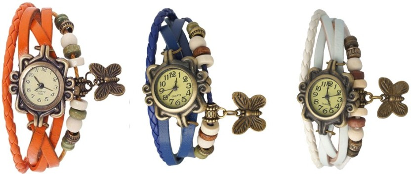 NS18 Vintage Butterfly Rakhi Watch Combo of 3 Orange, Blue And White Watch  - For Women