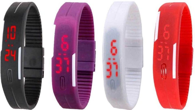 NS18 Silicone Led Magnet Band Watch Combo of 4 Black, Pink, White And Red Watch  - For Couple