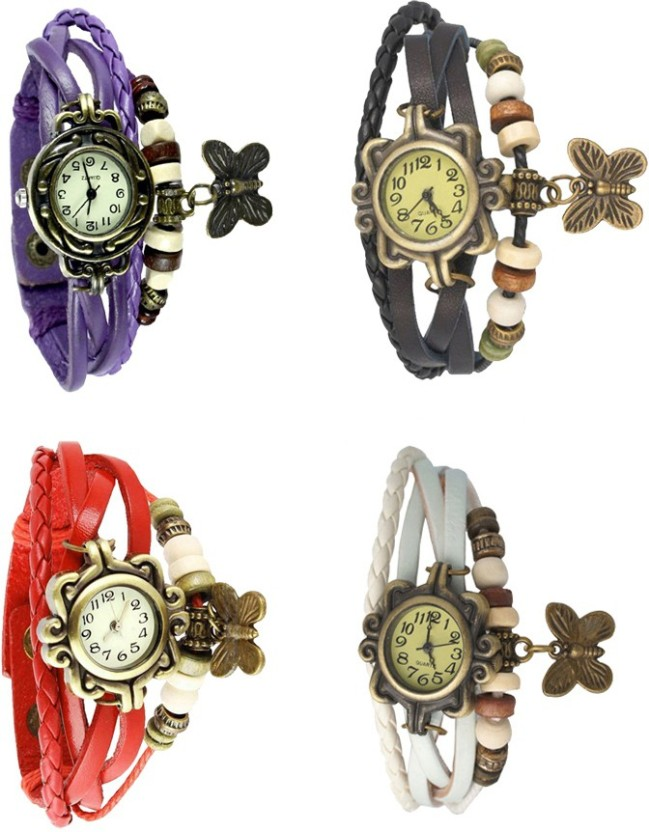 NS18 Vintage Butterfly Rakhi Combo of 4 Purple, Black, Green And White Watch  - For Women
