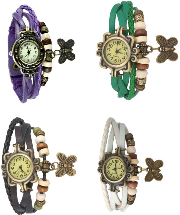 NS18 Vintage Butterfly Rakhi Combo of 4 Purple, Red, Black And White Watch  - For Women