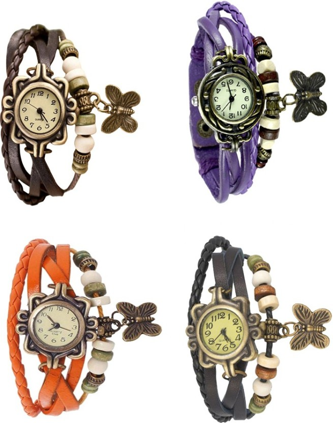 NS18 Vintage Butterfly Rakhi Combo of 4 Brown, Orange, Purple And Black Watch  - For Women