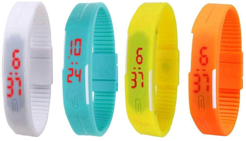 NS18 Silicone Led Magnet Band Combo of 4 White, Sky Blue, Yellow And Orange Watch  - For Boys & Girls