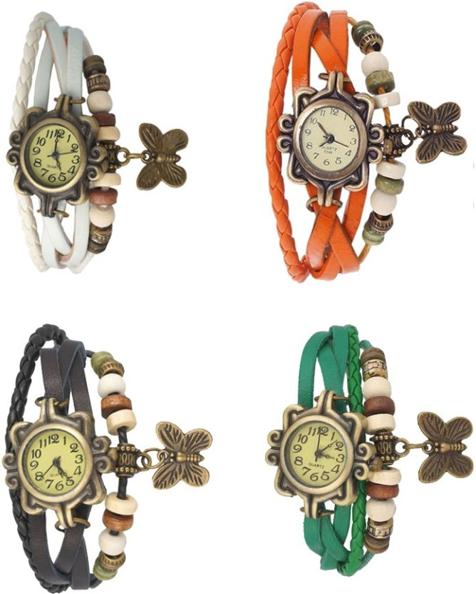 NS18 Vintage Butterfly Rakhi Combo of 4 White, Black, Orange And Green Watch  - For Women