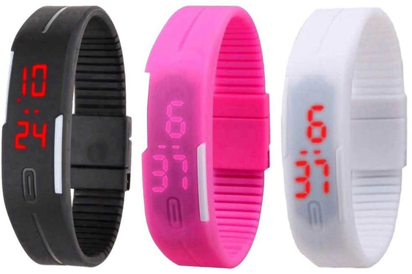 NS18 Silicone Led Magnet Band Combo of 3 Black, Pink And White Watch  - For Boys & Girls