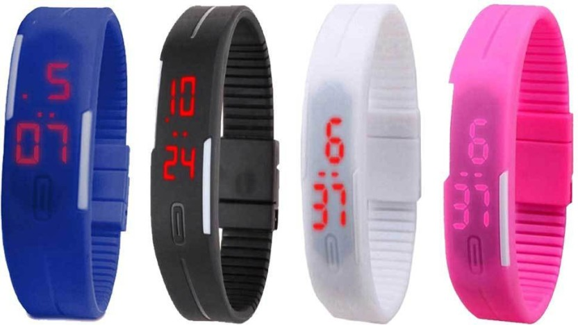 NS18 Silicone Led Magnet Band Watch Combo of 4 Blue, Black, White And Pink Watch  - For Couple