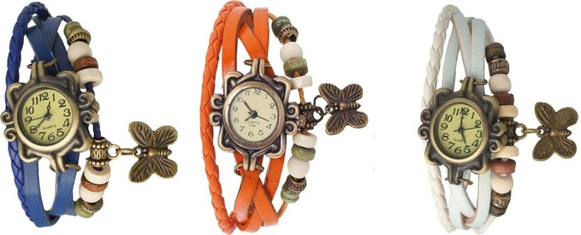 NS18 Vintage Butterfly Rakhi Watch Combo of 3 Blue, Orange And White Watch  - For Women