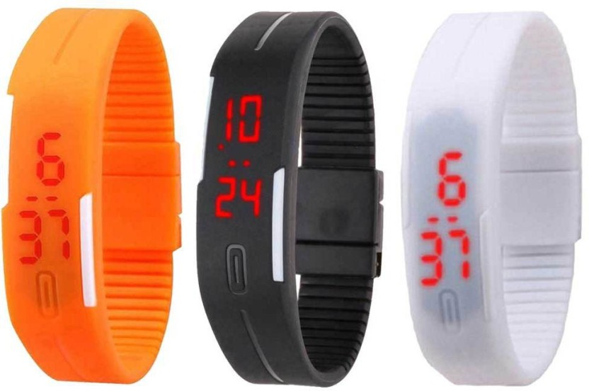 NS18 Silicone Led Magnet Band Combo of 3 White, Black And Green Watch  - For Boys & Girls