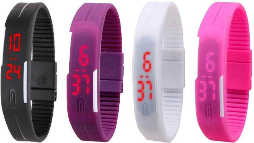 NS18 Silicone Led Magnet Band Watch Combo of 4 Black, Purple, White And Pink Watch  - For Couple