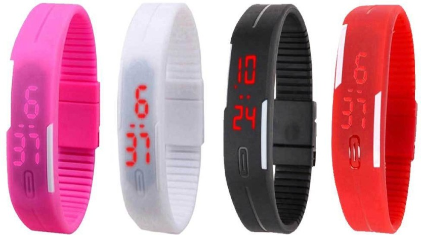 NS18 Silicone Led Magnet Band Watch Combo of 4 Black, Yellow, White And Pink Watch  - For Couple