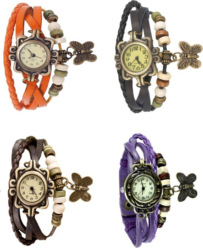 NS18 Vintage Butterfly Rakhi Combo of 4 Orange, Brown, Black And Purple Watch  - For Women