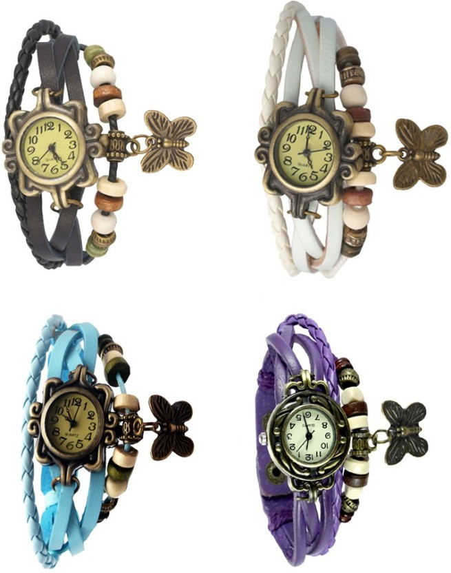 NS18 Vintage Butterfly Rakhi Combo of 4 Black, Sky Blue, White And Purple Watch  - For Women