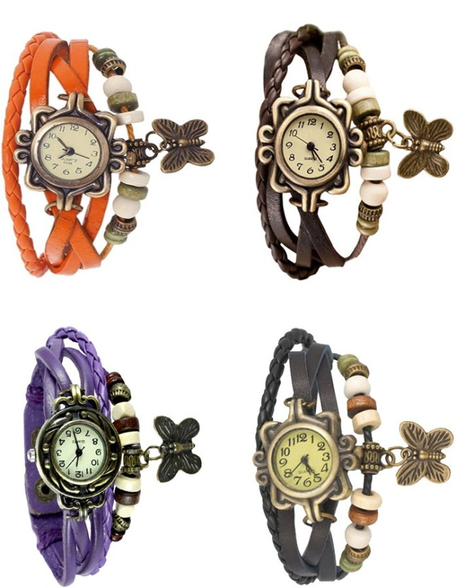 NS18 Vintage Butterfly Rakhi Combo of 4 Black, Orange, Purple And Brown Watch  - For Women