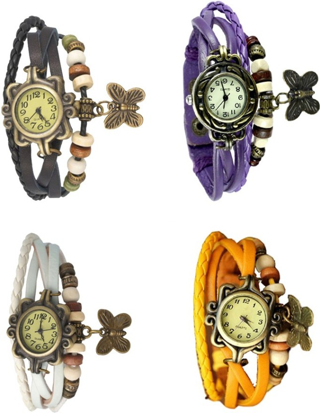 NS18 Vintage Butterfly Rakhi Combo of 4 Black, White, Purple And Yellow Watch  - For Women