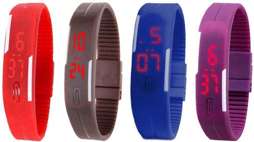 Kissu Led Magnet Band Combo of 4 Red, Brown, Blue And Purple Watch  - For Men & Women