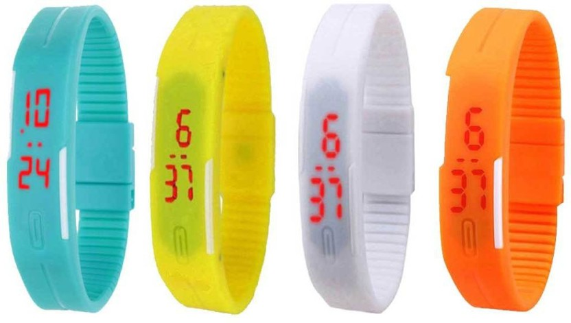 NS18 Silicone Led Magnet Band Combo of 4 Yellow, Sky Blue, White And Orange Watch  - For Boys & Girls