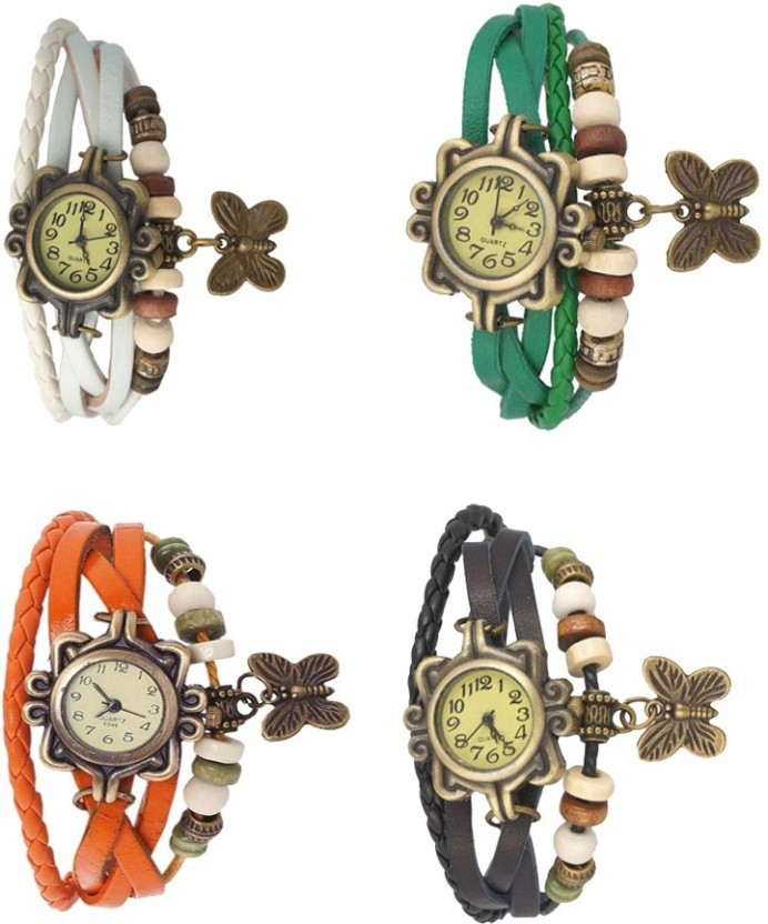 NS18 Vintage Butterfly Rakhi Combo of 4 White, Orange, Green And Black Watch  - For Women