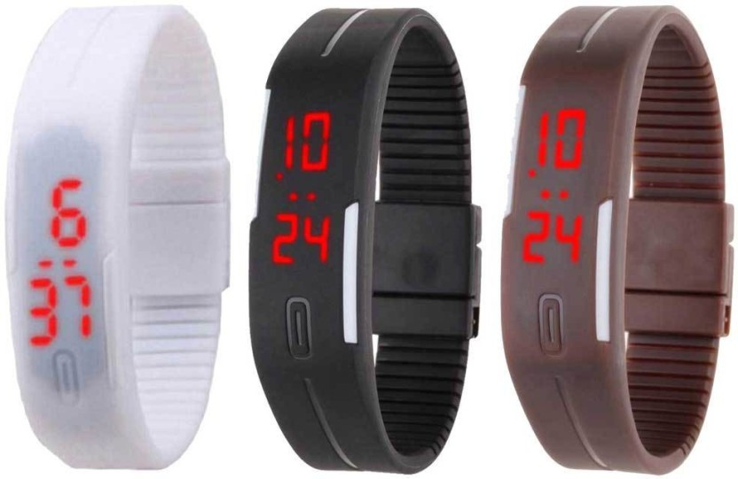 NS18 Silicone Led Magnet Band Combo of 3 White, Black And Brown Watch  - For Boys & Girls