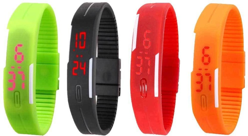 NS18 Silicone Led Magnet Band Combo of 4 Green, Black, Red And Orange Watch  - For Boys & Girls