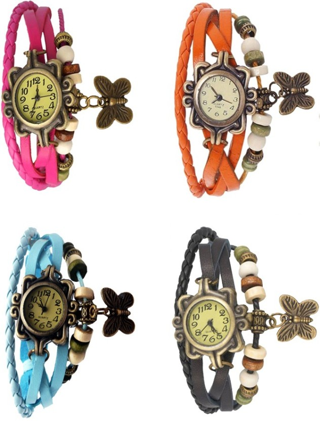 Kissu Vintage Rakhi Combo of 4 Pink, Orange, Black And Sky Blue Watch  - For Women