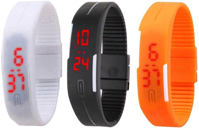NS18 Silicone Led Magnet Band Combo of 3 White, Black And Orange Watch  - For Boys & Girls