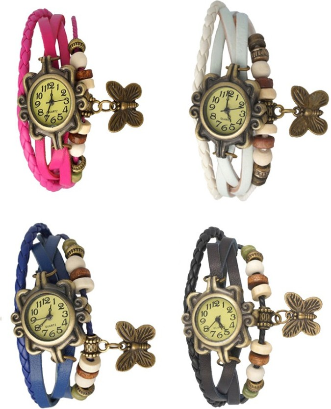 NS18 Vintage Butterfly Rakhi Combo of 4 Sky Blue, Pink, Yellow And White Watch  - For Women