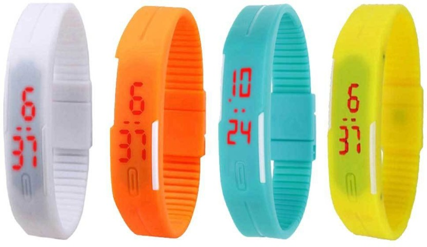 NS18 Silicone Led Magnet Band Combo of 4 White, Orange, Sky Blue And Yellow Watch  - For Boys & Girls