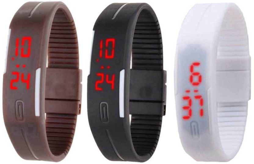 NS18 Silicone Led Magnet Band Combo of 3 Yellow, Black And White Watch  - For Boys & Girls