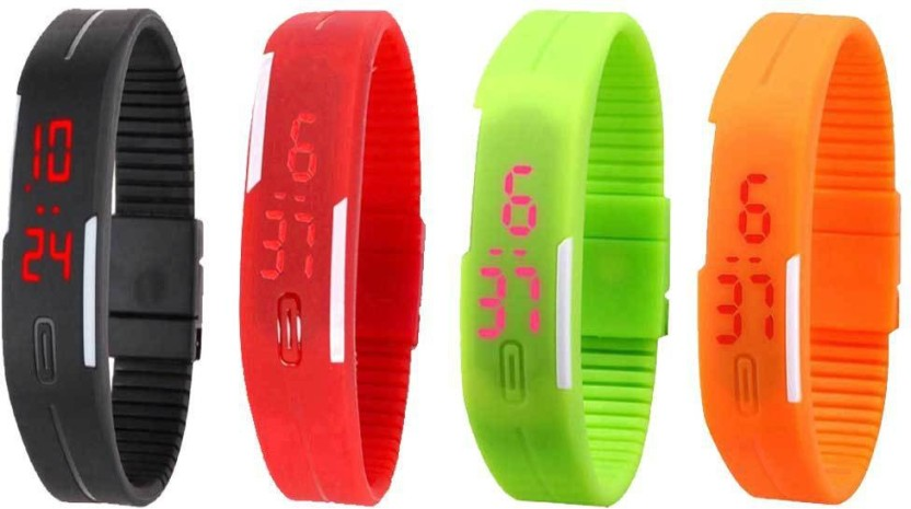NS18 Silicone Led Magnet Band Combo of 4 Red, Green, Black And Orange Watch  - For Boys & Girls