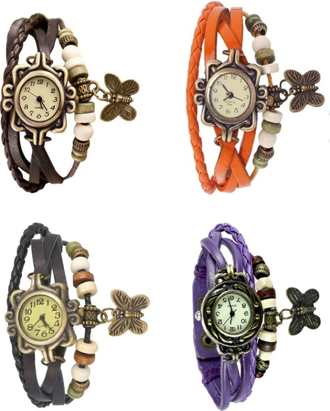 NS18 Vintage Butterfly Rakhi Combo of 4 Brown, Black, Orange And Purple Watch  - For Women