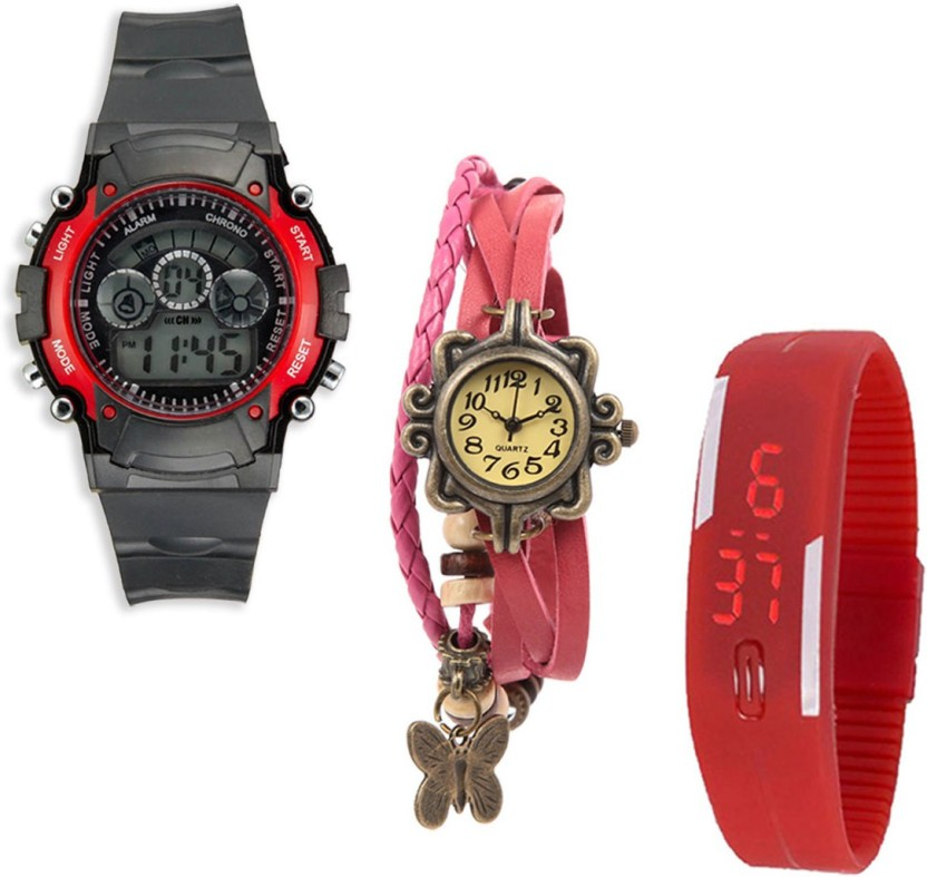 Sir Time Pack of 3 Multicolor Watch  - For Men & Women