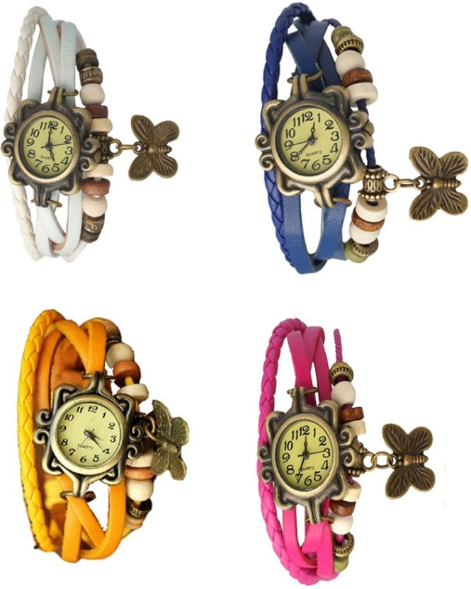 NS18 Vintage Butterfly Rakhi Combo of 4 White, Yellow, Blue And Pink Watch  - For Women