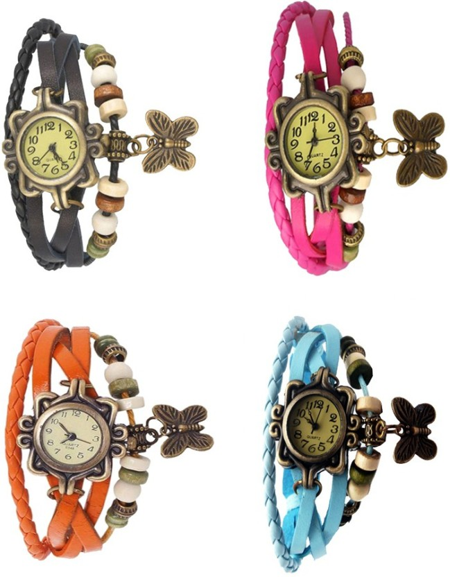 Kissu Vintage Rakhi Combo of 4 Sky Blue, Black, Pink And Orange Watch  - For Women