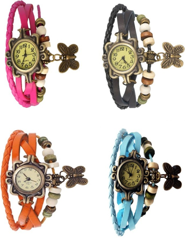 Kissu Vintage Rakhi Combo of 4 Pink, Sky Blue, Orange And Black Watch  - For Women