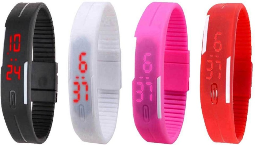 NS18 Silicone Led Magnet Band Watch Combo of 4 Black, White, Pink And Red Watch  - For Couple