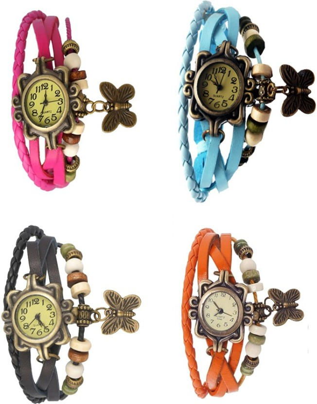 Kissu Vintage Rakhi Combo of 4 Pink, Black, Sky Blue And Orange Watch  - For Women