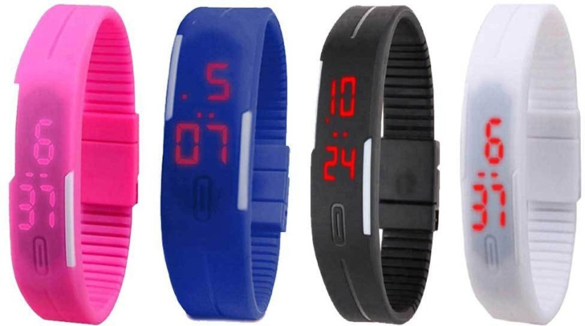 NS18 Silicone Led Magnet Band Watch Combo of 4 Black, Sky Blue, White And Pink Watch  - For Couple