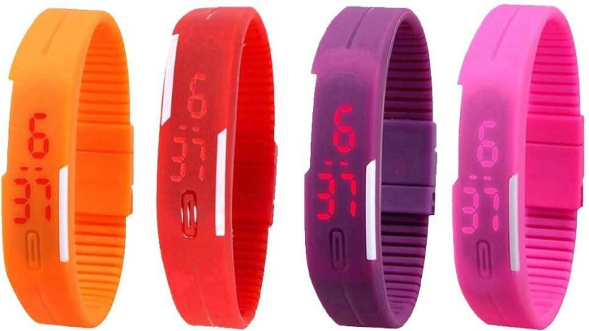 NS18 Silicone Led Magnet Band Watch Combo of 4 Orange, Red, Purple And Pink Watch  - For Couple