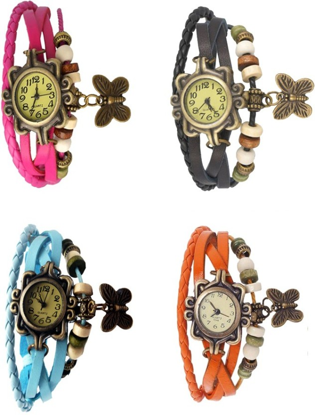 Kissu Vintage Rakhi Combo of 4 Pink, Sky Blue, Black And Orange Watch  - For Women