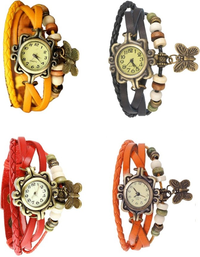 NS18 Vintage Butterfly Rakhi Combo of 4 Yellow, Red, Black And Orange Watch  - For Women