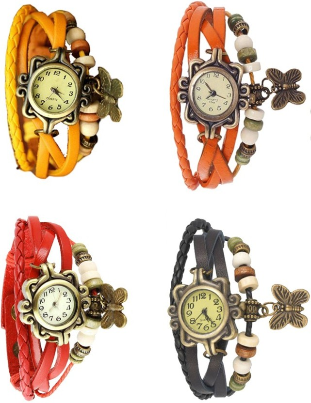 NS18 Vintage Butterfly Rakhi Combo of 4 Yellow, Red, Orange And Black Watch  - For Women
