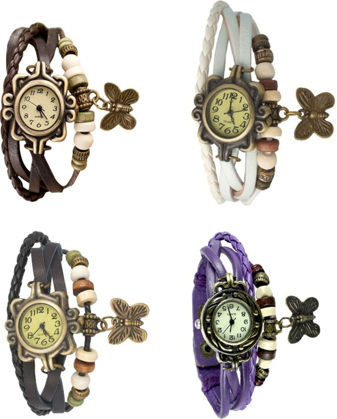 NS18 Vintage Butterfly Rakhi Combo of 4 Brown, Black, White And Purple Watch  - For Women