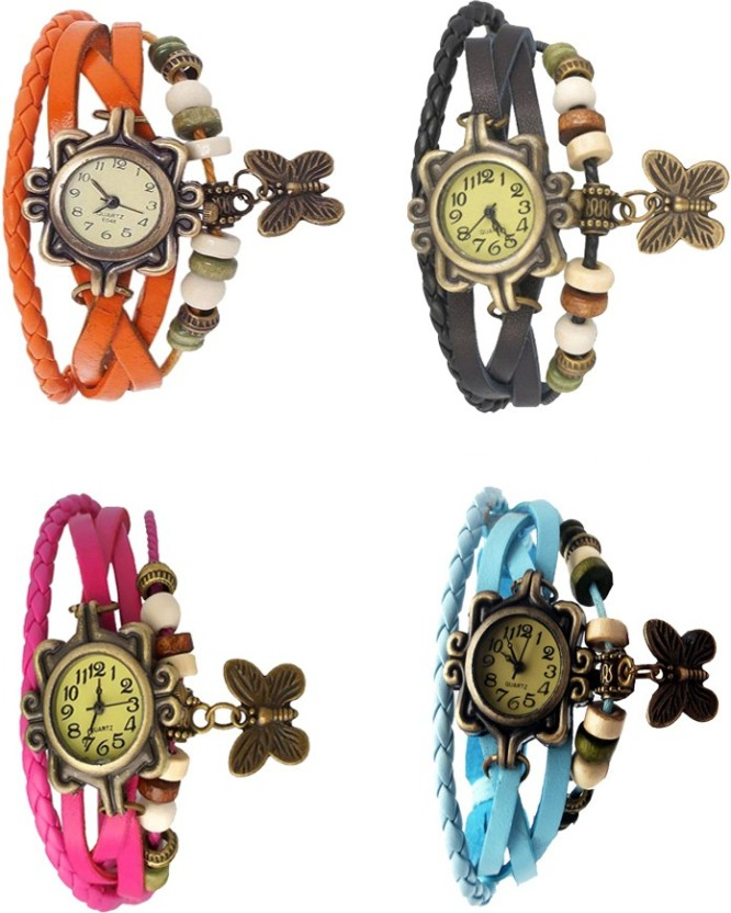 Kissu Vintage Rakhi Combo of 4 Orange, Pink, Black And Sky Blue Watch  - For Women