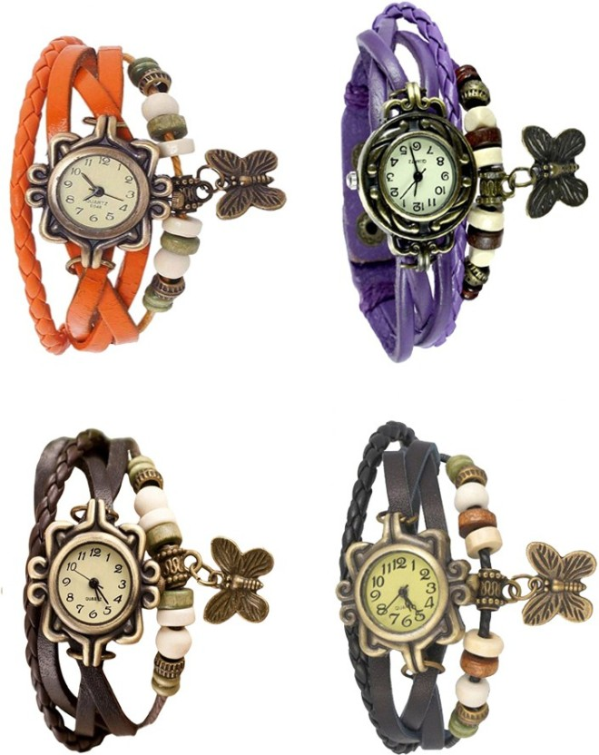 NS18 Vintage Butterfly Rakhi Combo of 4 Purple, Orange, Brown And Black Watch  - For Women
