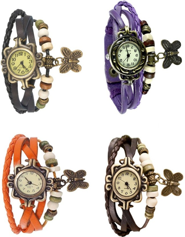 NS18 Vintage Butterfly Rakhi Combo of 4 Orange, Purple, Brown And Black Watch  - For Women