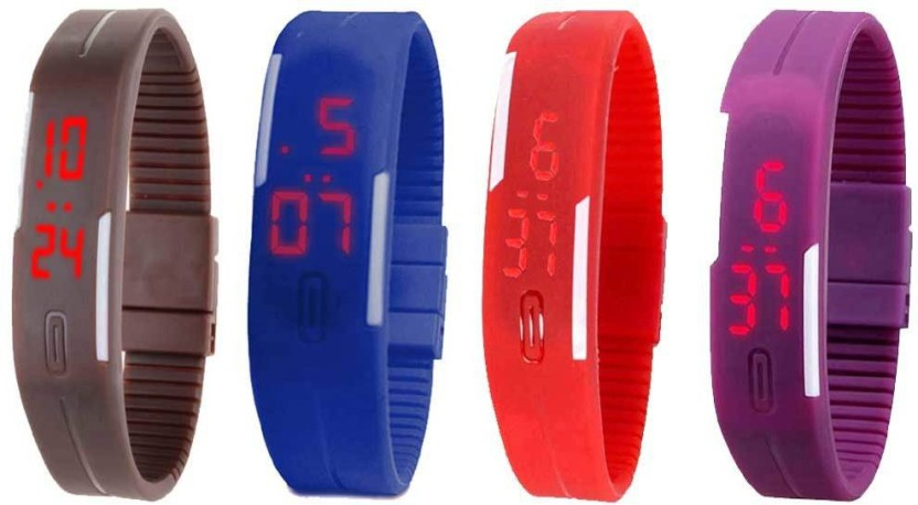 Kissu Led Magnet Band Combo of 4 Purple, Sky Blue, Orange And Black Watch  - For Men & Women