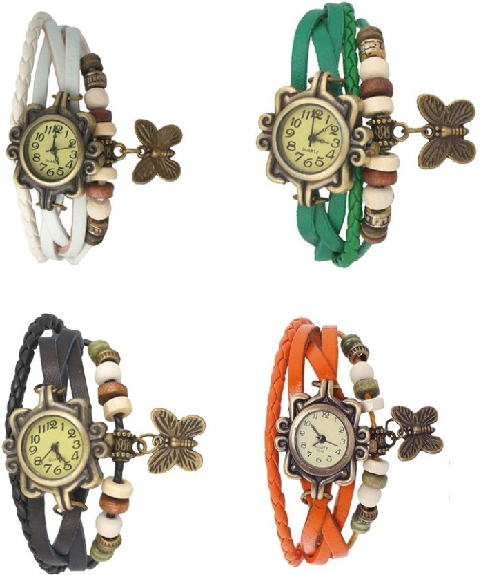NS18 Vintage Butterfly Rakhi Combo of 4 Orange, White, Black And Green Watch  - For Women