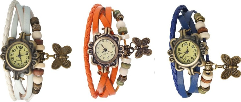 NS18 Vintage Butterfly Rakhi Watch Combo of 3 White, Orange And Blue Watch  - For Women