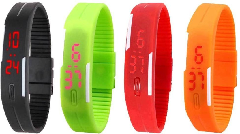 NS18 Silicone Led Magnet Band Combo of 4 Black, Green, Red And Orange Watch  - For Boys & Girls