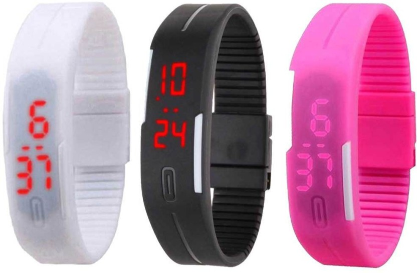 NS18 Silicone Led Magnet Band Combo of 3 White, Black And Pink Watch  - For Boys & Girls